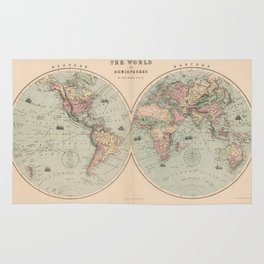 Vintage Map of The World (1873) Rug