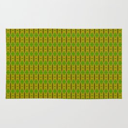 Heliconia Green Gold Stalks Pattern Rug
