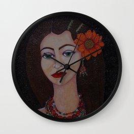 Gypsy with green eyes Wall Clock