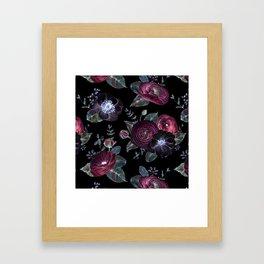 Fantasy Night Rose Red Framed Art Print