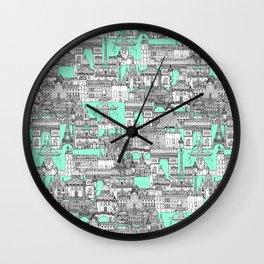 Paris toile aquamarine Wall Clock
