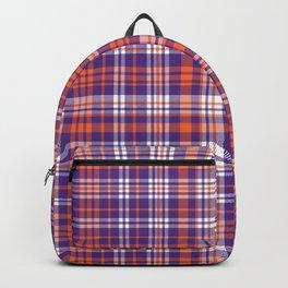 Varsity plaid purple orange and white clemson sports college football universities Backpack
