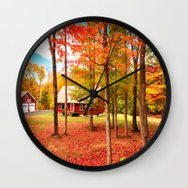 new england cottage Wall Clock