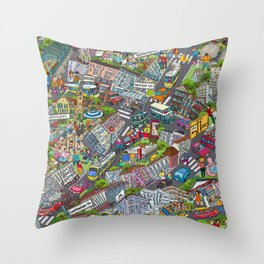 Illustrated map of Berlin-Prenzlauer Berg Throw Pillow