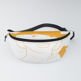 Female Face Portrait Drawing in Mustard Yellow Fanny Pack