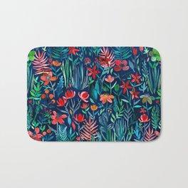 Tropical Ink - a watercolor garden Bath Mat