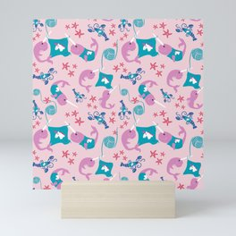 Narwhals Knitting Unicorn Sweaters - Pink Mini Art Print