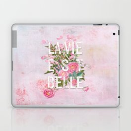 LAVIE EST BELLE - Watercolor - Pink Flowers Roses - Rose Flower Laptop & iPad Skin