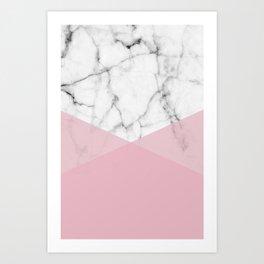 Real White marble Half Rose Pink Modern Shapes Art Print