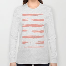 Pretty Pink Brush Stripes Horizontal Long Sleeve T-shirt