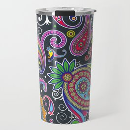 Oriental Persian Paisley - Green Pink Blue Yellow Travel Mug