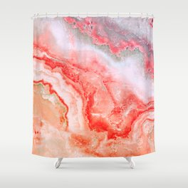 Luxury LIVING CORAL Agate Marble Geode Gem Shower Curtain