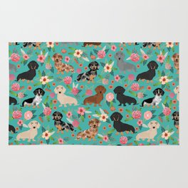 Dachshund florals flower pet portrait dog art dachsie doxie pet art dog breeds Rug