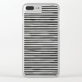Skinny Stroke Horizontal Black on Off White Clear iPhone Case