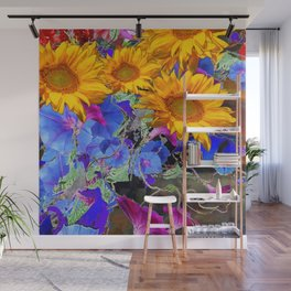 LARGE YELLOW SUNFLOWERS & BLUE MORNING GLORIES FLORAL Wall Mural