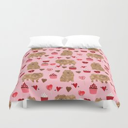 Pomeranian valentines day love hearts cupcakes pattern cute puppy dog breeds by pet friendly Duvet Cover