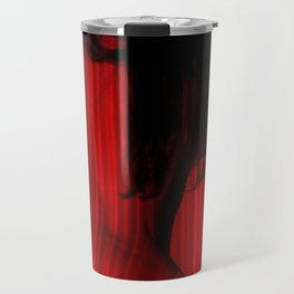 Abstract portrait. Silhouette of Naked woman painted by laser red lines. Travel Mug