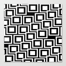 Black and White Squares Pattern 02 Canvas Print