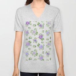 Hand painted lavender violet green watercolor floral Unisex V-Neck
