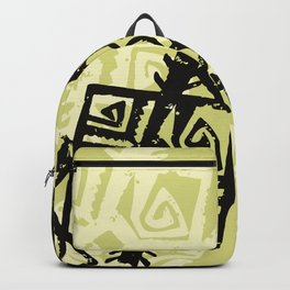 African Pattern, Tribal Motif - Green Black Backpack