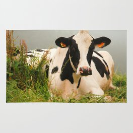 Holstein cow facing camera Rug