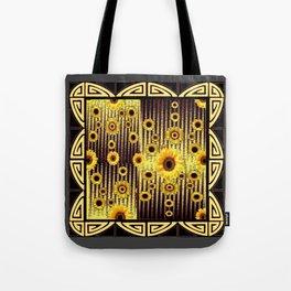 ART DECO GOLDEN SUNFLOWERS DARK GREY-BLACK Tote Bag