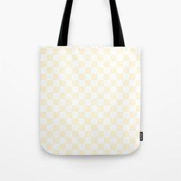Small Checkered - White and Cornsilk Yellow Tote Bag