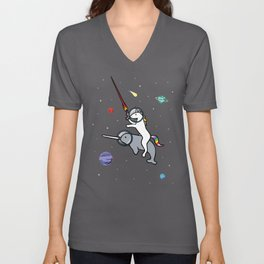 Unicorn Riding Narwhal In Space Unisex V-Neck