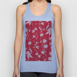 Red Passiflora Floral Pattern Unisex Tank Top