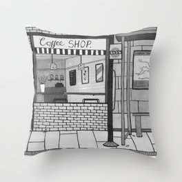 London Coffee Shop in Black and White Throw Pillow
