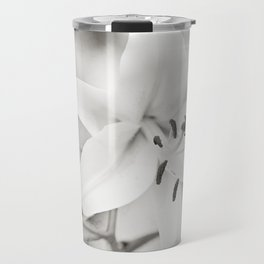 Black and White Lily Flower Photography, Neutral Grey Lilies, Gray Nature Spring Photo Travel Mug