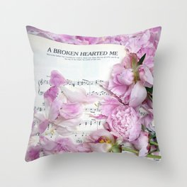 Shabby Chic Cottage Peonies On Sheet Music - Inspirational Peonies Print Throw Pillow