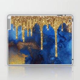 Gold Rain on Indigo Marble Laptop & iPad Skin