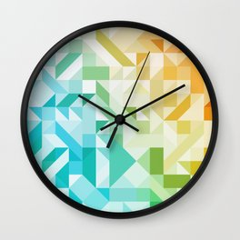 Colorful Geometric Pattern Saturated Rainbow Pattern Design (Red Pink Orange Yellow Green Blue) Wall Clock