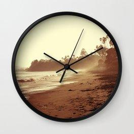 Vintage Retro Sepia Toned Coastal Beach Print Wall Clock