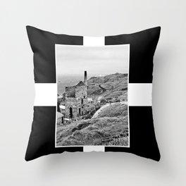 Cornish Tin Mine And Flag Throw Pillow