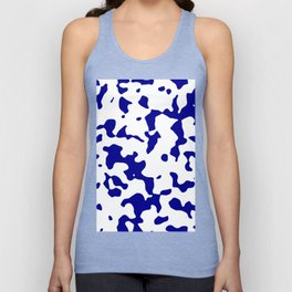 Large Spots - White and Dark Blue Unisex Tank Top