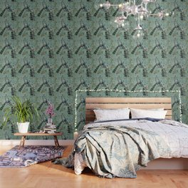 A Teal of Two Birds Chinoiserie Wallpaper