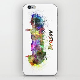 Brasov skyline in watercolor iPhone Skin