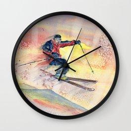 Colorful Skiing Art Wall Clock