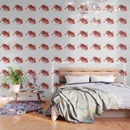 Octopus, Coral Reef, Sea world red design Wallpaper