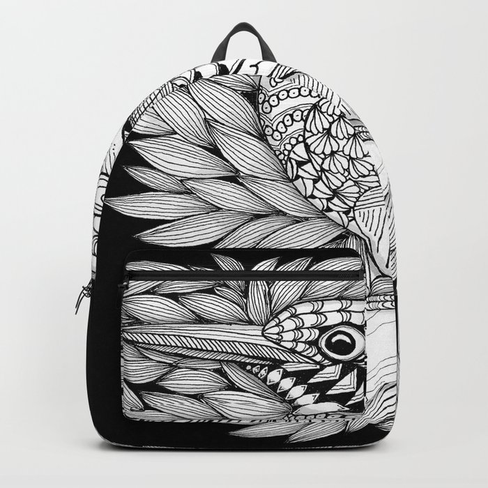 Zentangle Halcyon Black and White Illustration Backpack