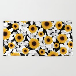 Black & white sunflower Beach Towel