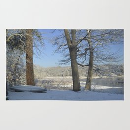 December Snow Delaware River View Rug
