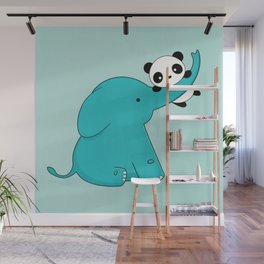 Kawaii Cute Panda and Elephant Wall Mural