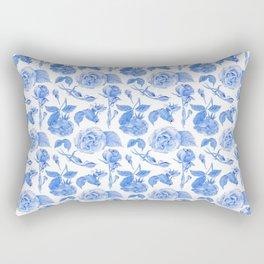 Blue Roses Watercolor Rectangular Pillow