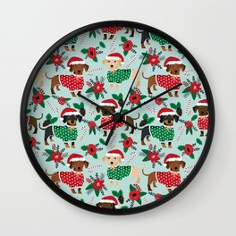 Dachshund christmas sweater florals poinsettia holiday red and white santa hat for dog lover Wall Clock