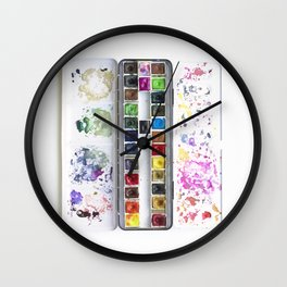 Messy Watercolor Painting Palette Photograph Wall Clock
