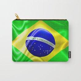 Brazil Flag Waving Silk Fabric Carry-All Pouch