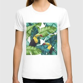 Toucans Tropical Banana Leaves Pattern T-shirt